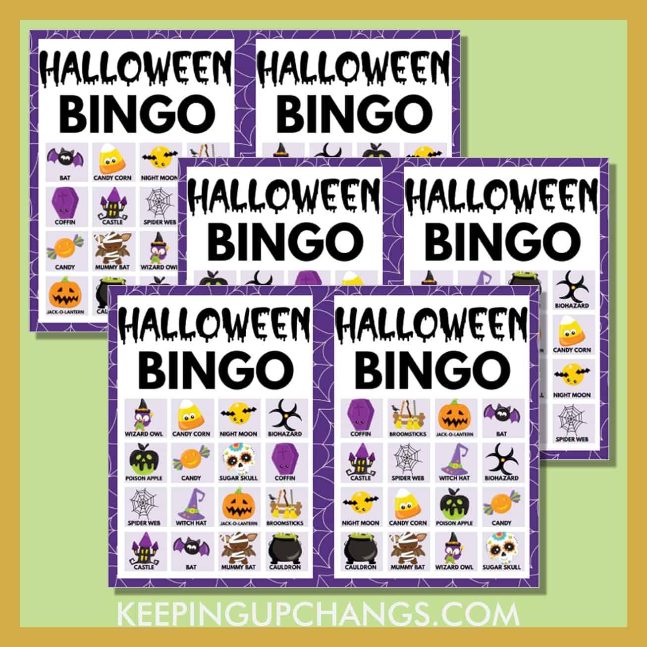 free fall halloween bingo 4x4 game cards.