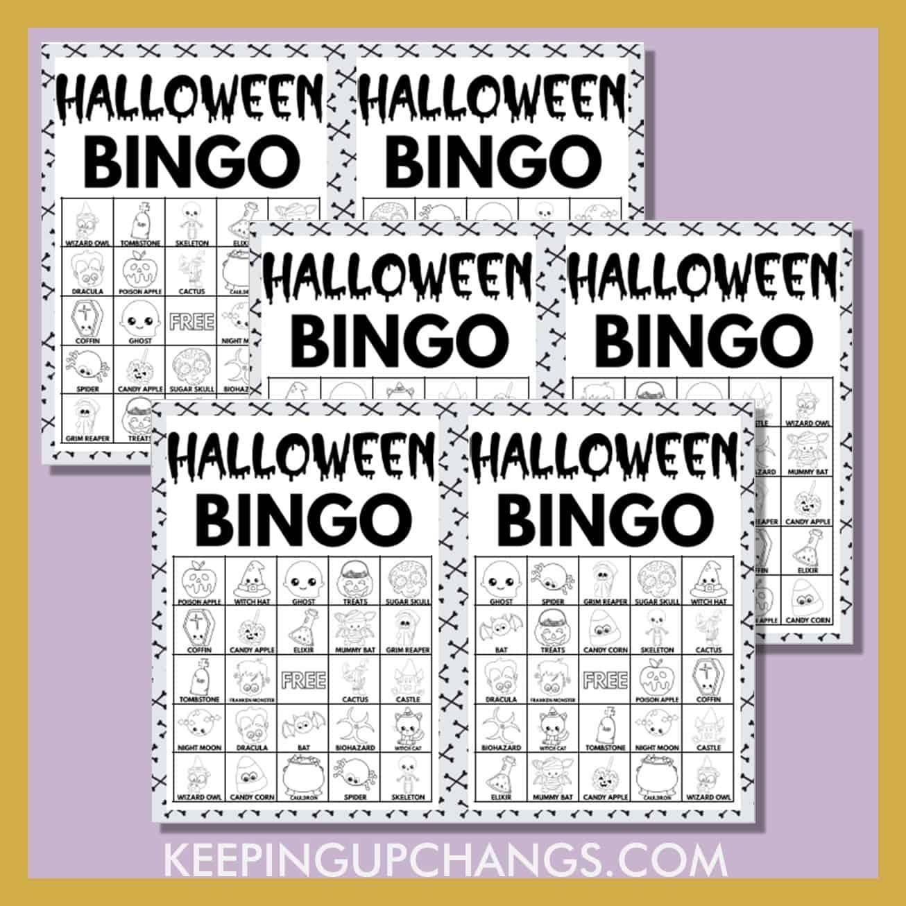 free fall halloween bingo 5x5 black white coloring game cards.