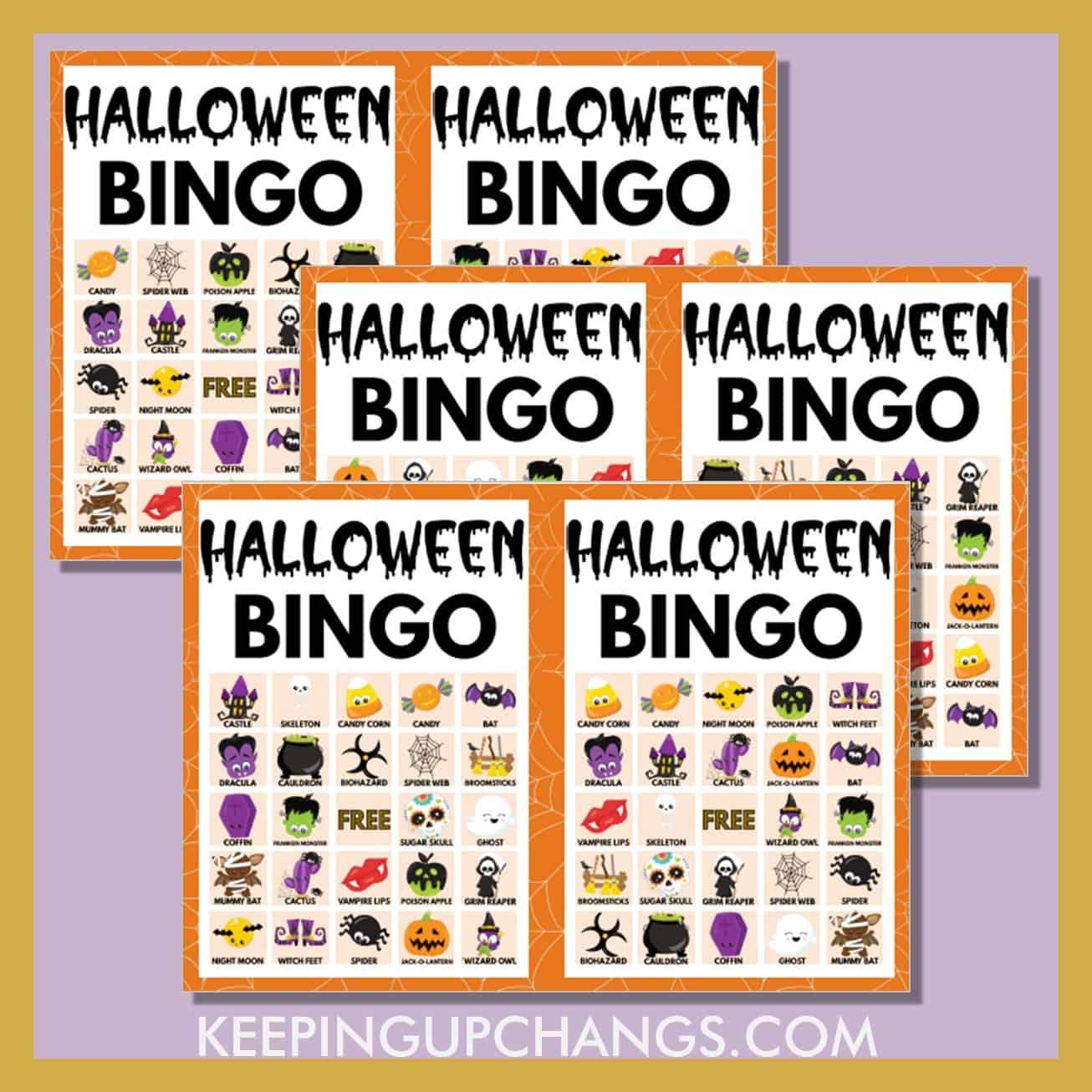 free fall halloween bingo 5x5 game cards.