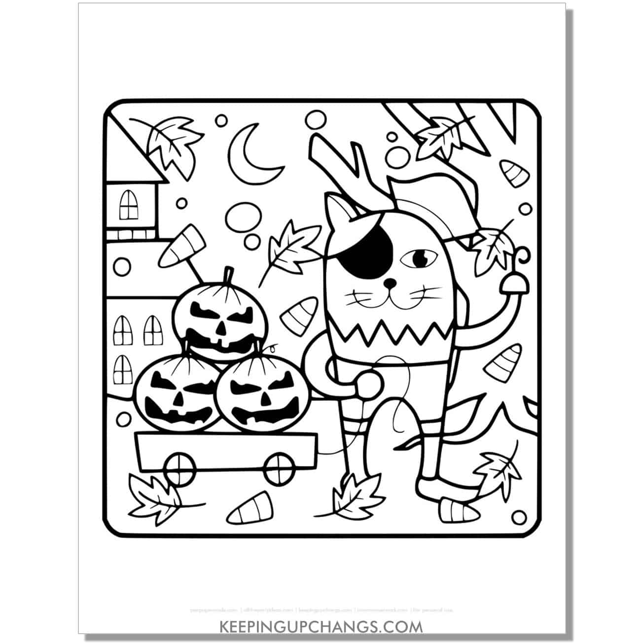 pirate cat coloring page for kids.