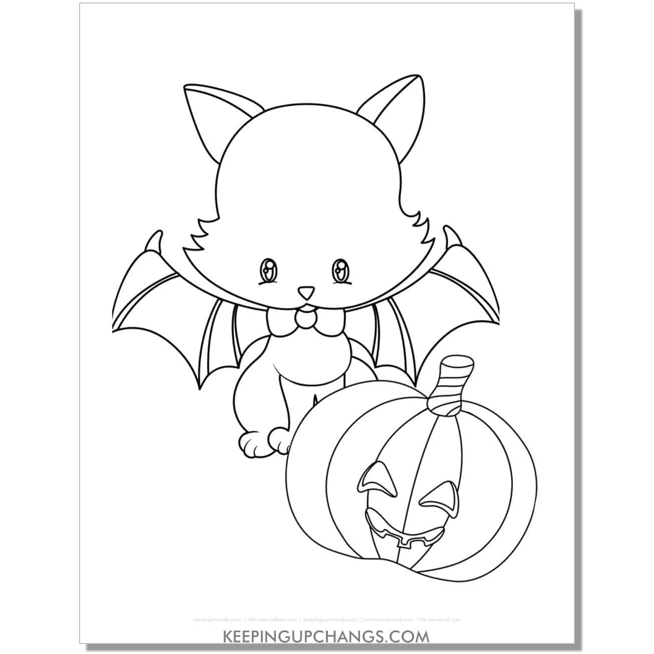 cute halloween cat with jack o lantern coloring page.