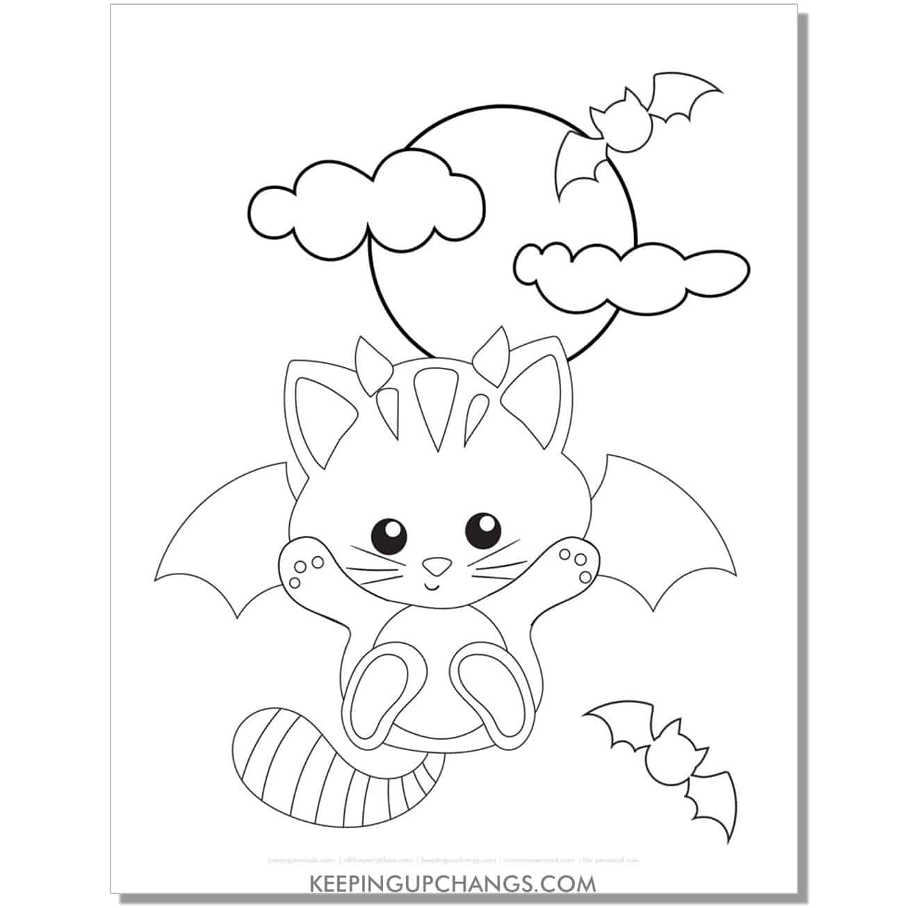 kawaii halloween cat with bat wings and moon coloring page.