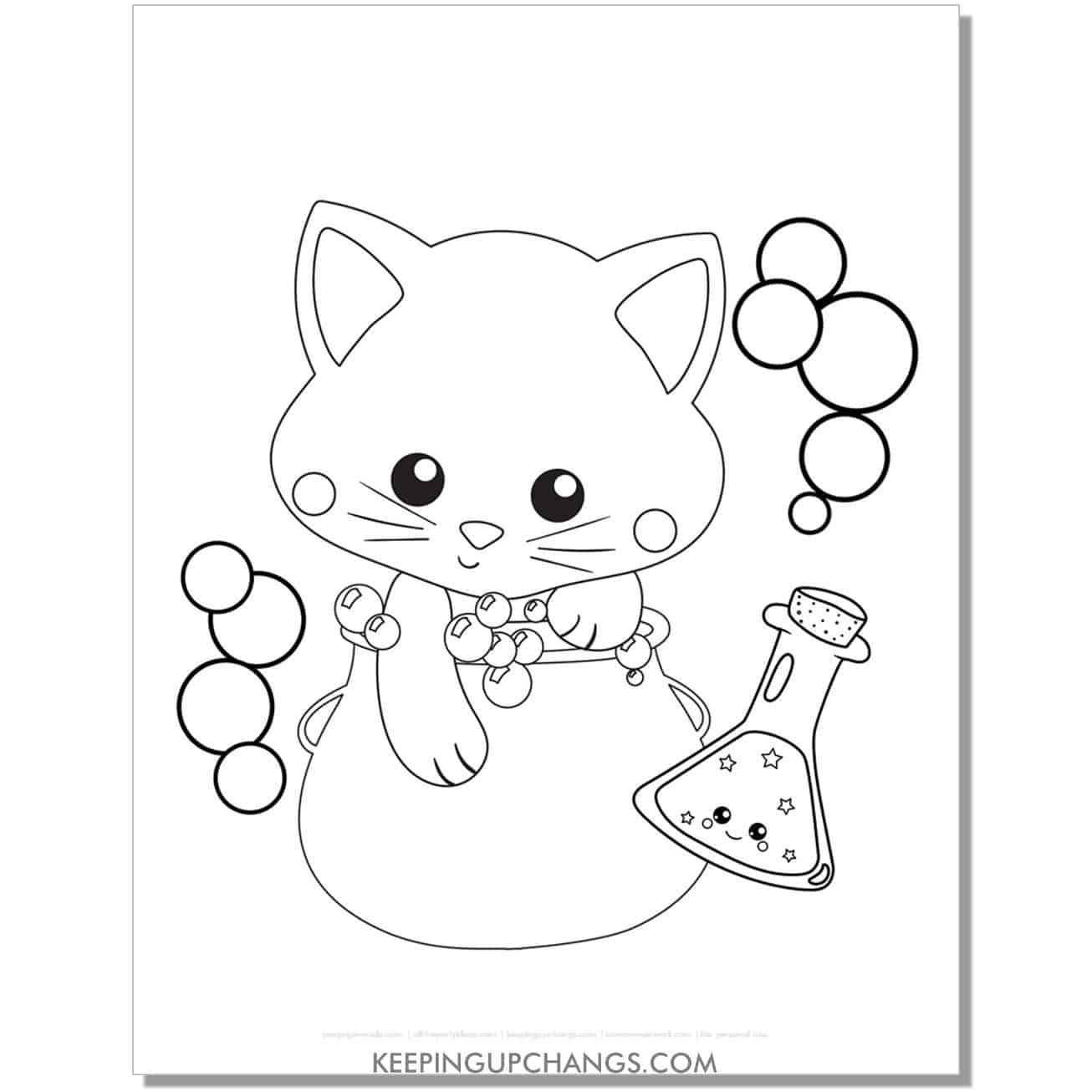 kawaii halloween cat with cauldron, potion coloring page.