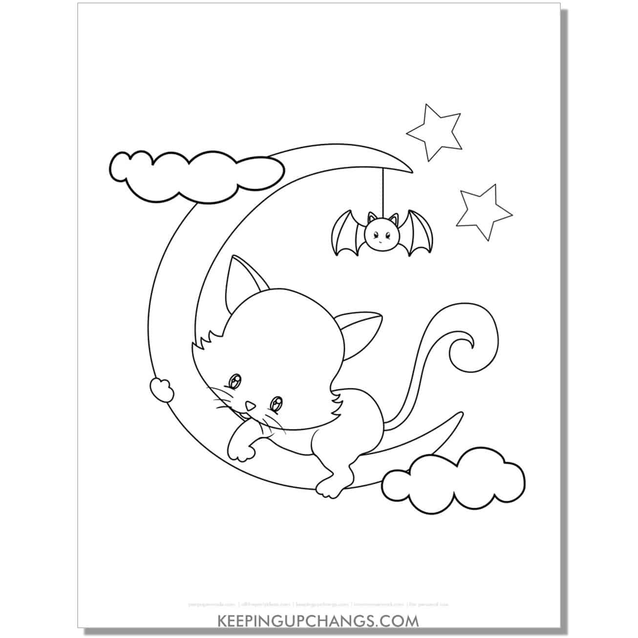 cute halloween cat on crescent moon coloring page.