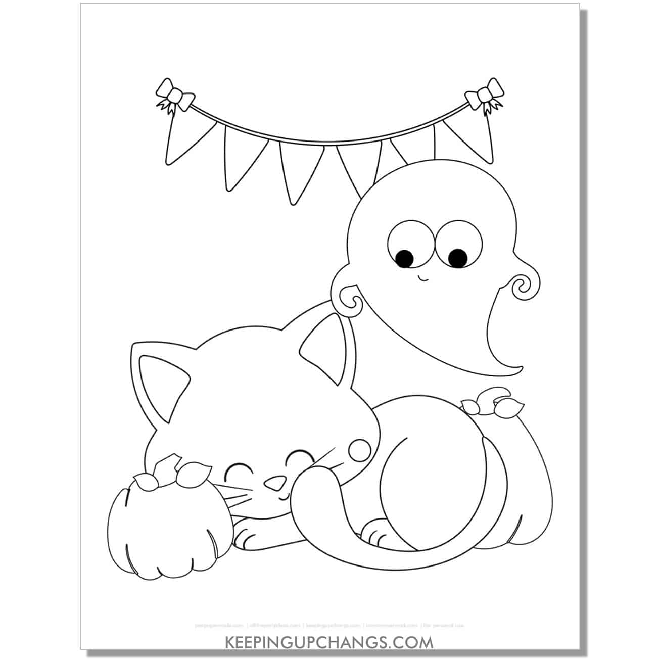 cute halloween cat with ghost and pumpkins coloring page.