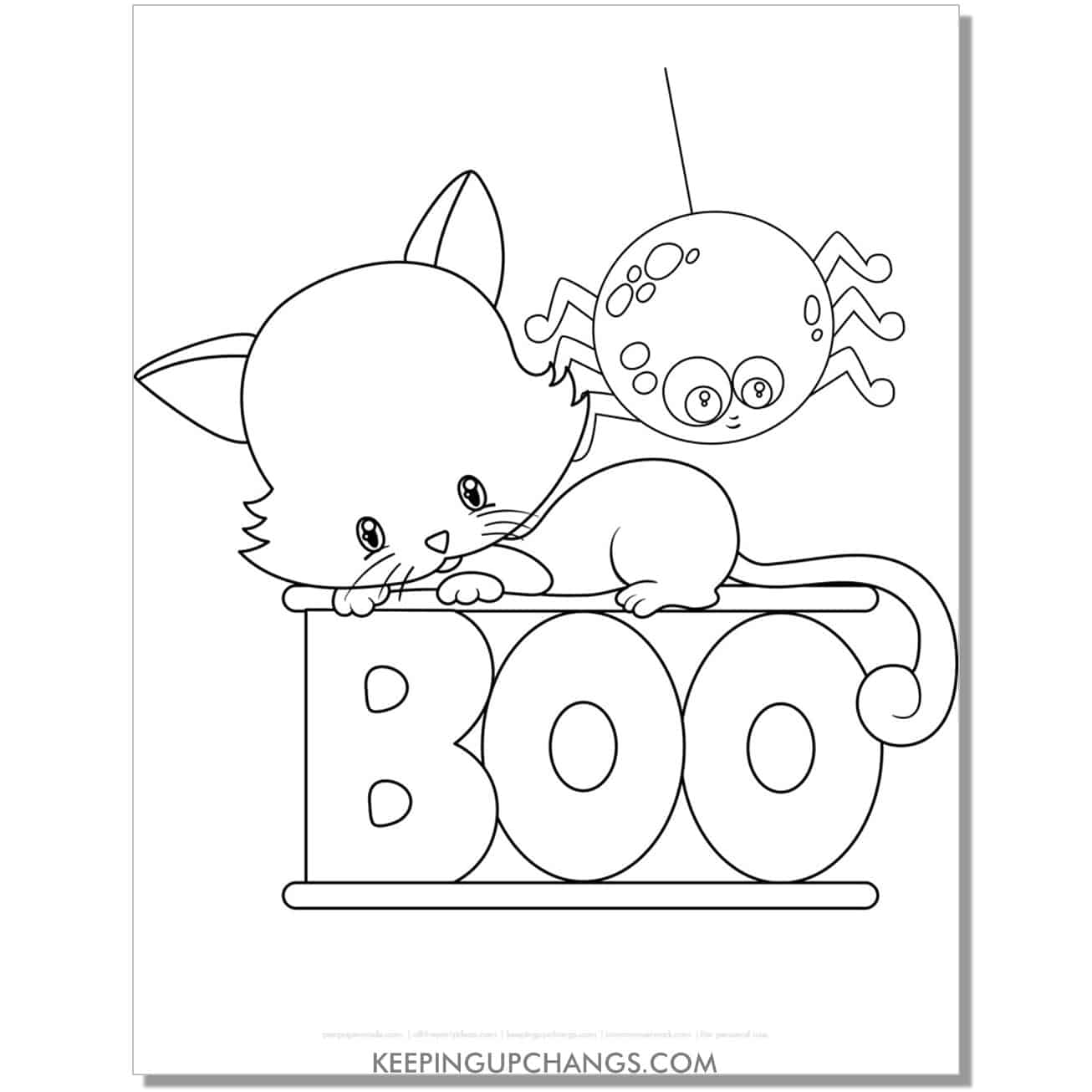 cute halloween cat with spider and boo coloring page.