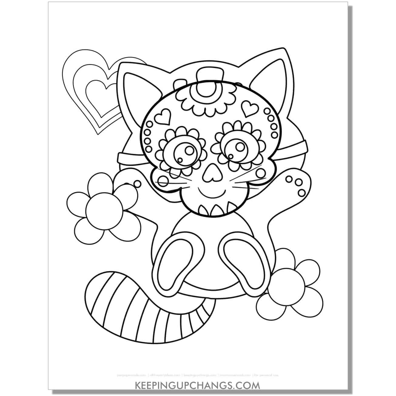 halloween cat with candy skull calaveras coloring page.
