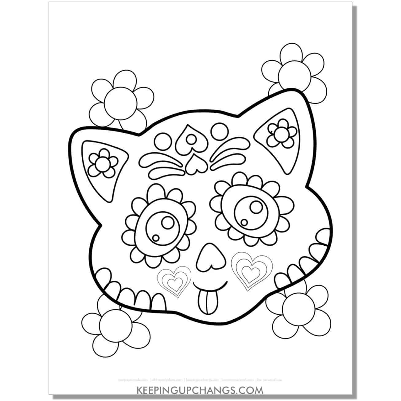 halloween cat face with dia de los muertos mask coloring page.