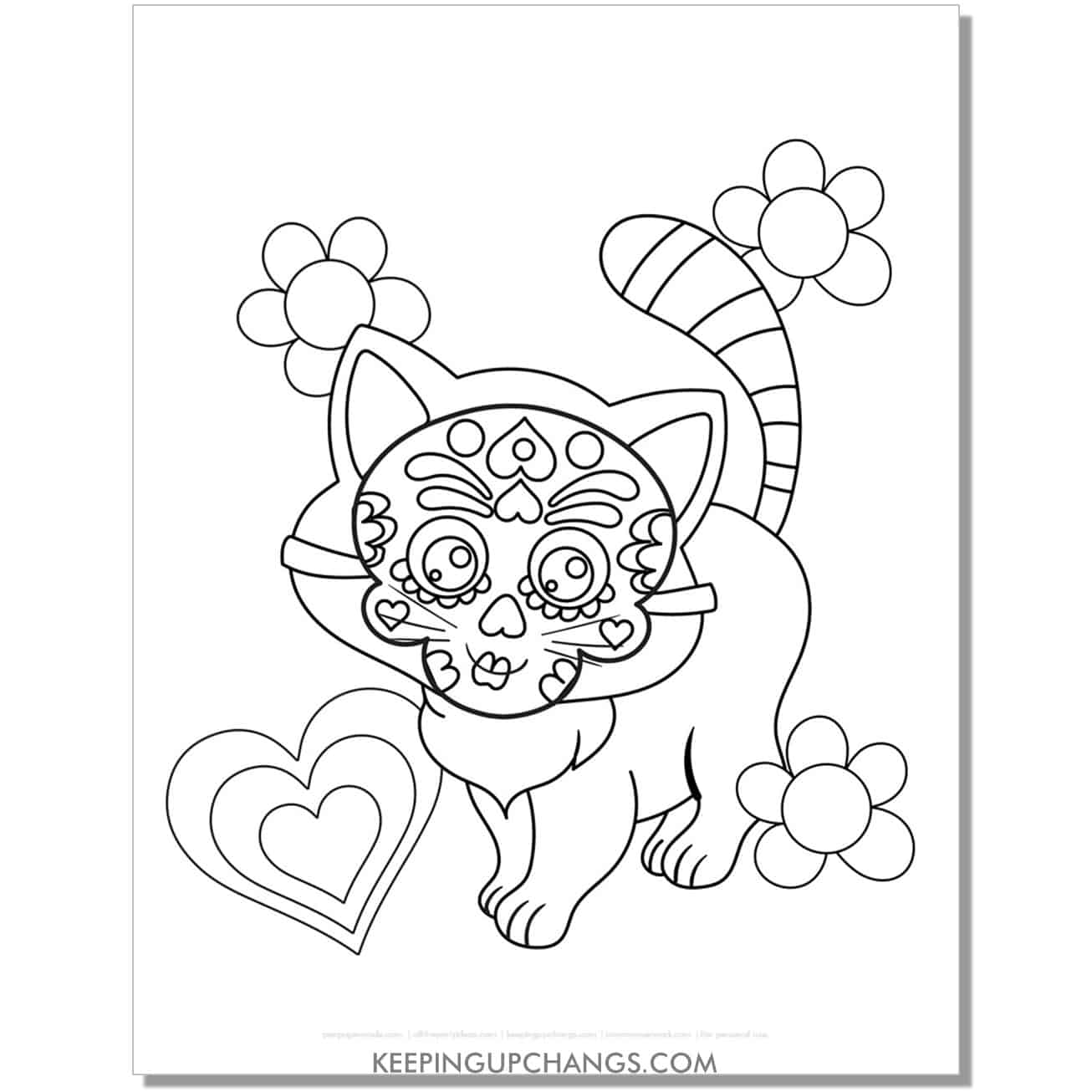 standing halloween cat with day of the dead mask coloring page.
