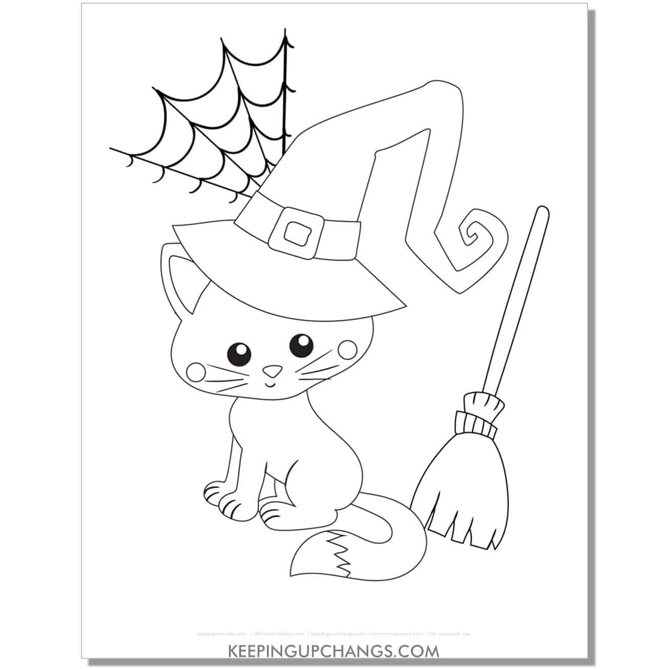 adorable halloween cat witch with spider web coloring page.