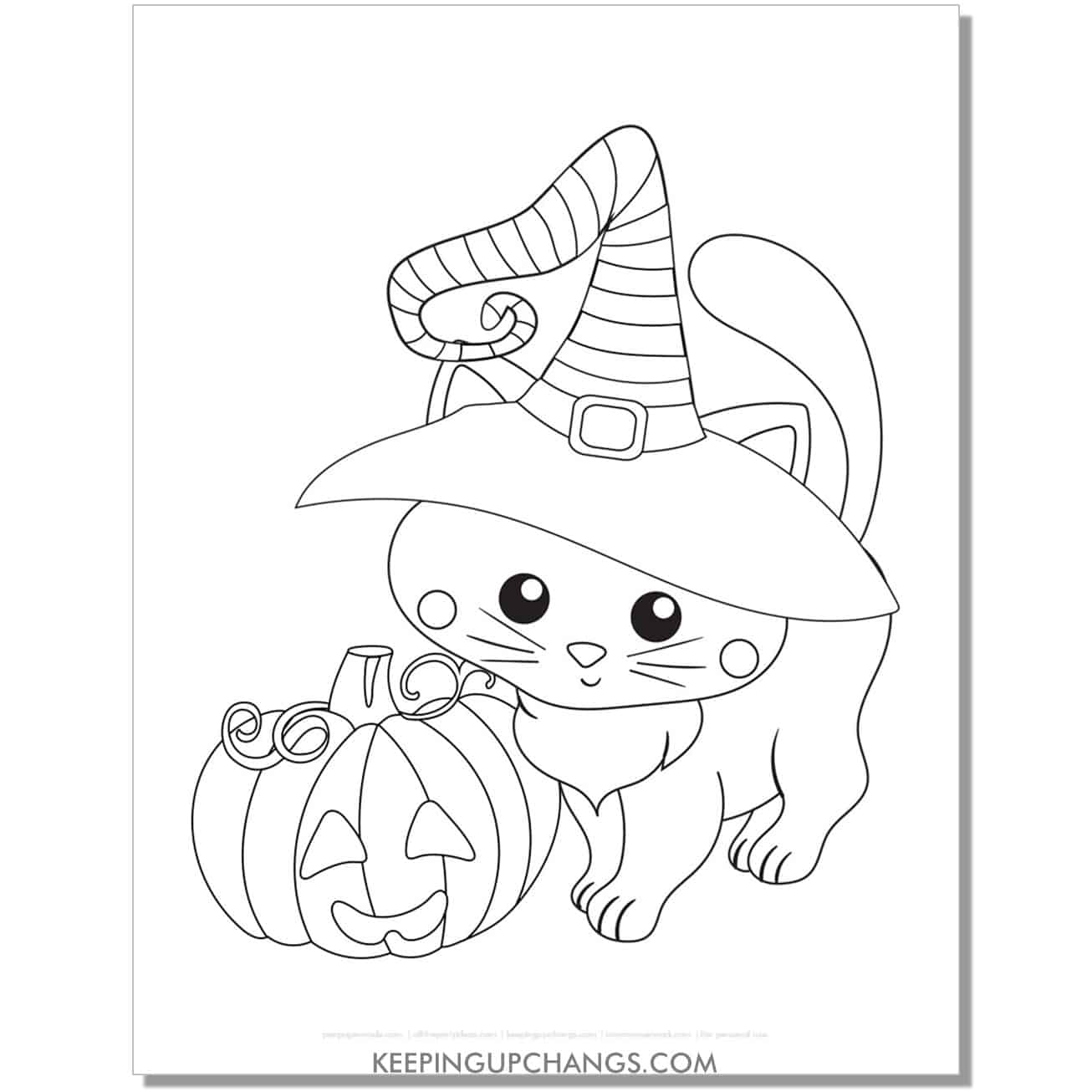 adorable halloween witch cat and jack o lantern coloring page.