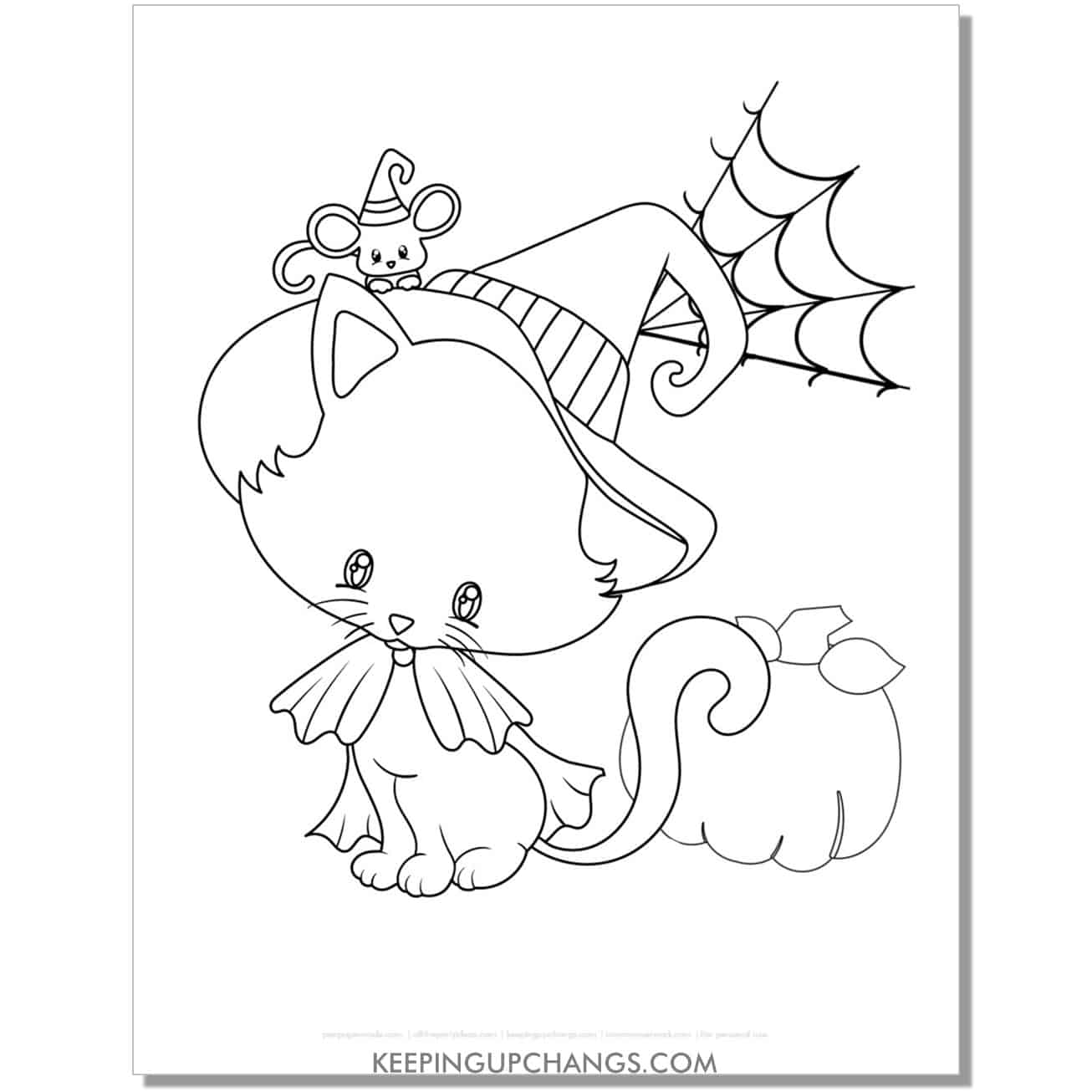 adorable halloween cat witch with pumpkin coloring page.