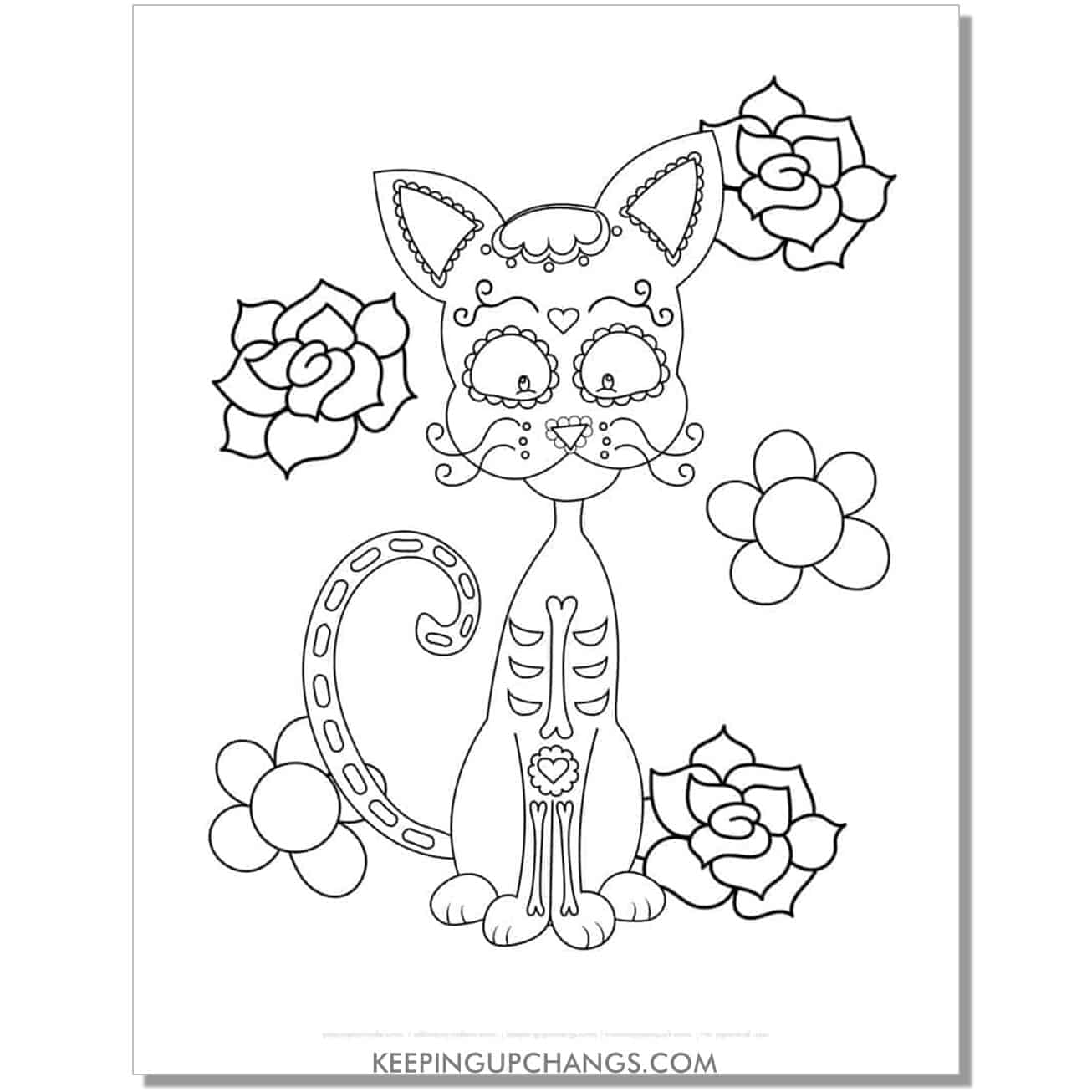 skinny halloween cat with day of the dead face painting and roses coloring page.