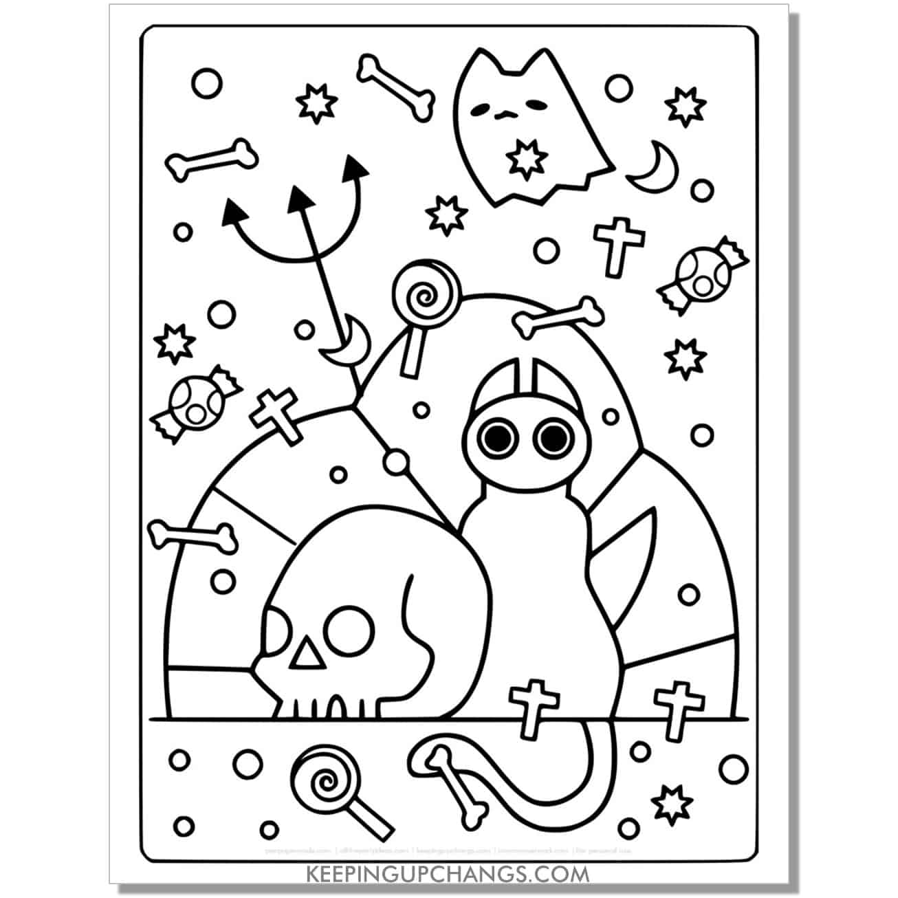 full size halloween cat devil, ghost coloring page.