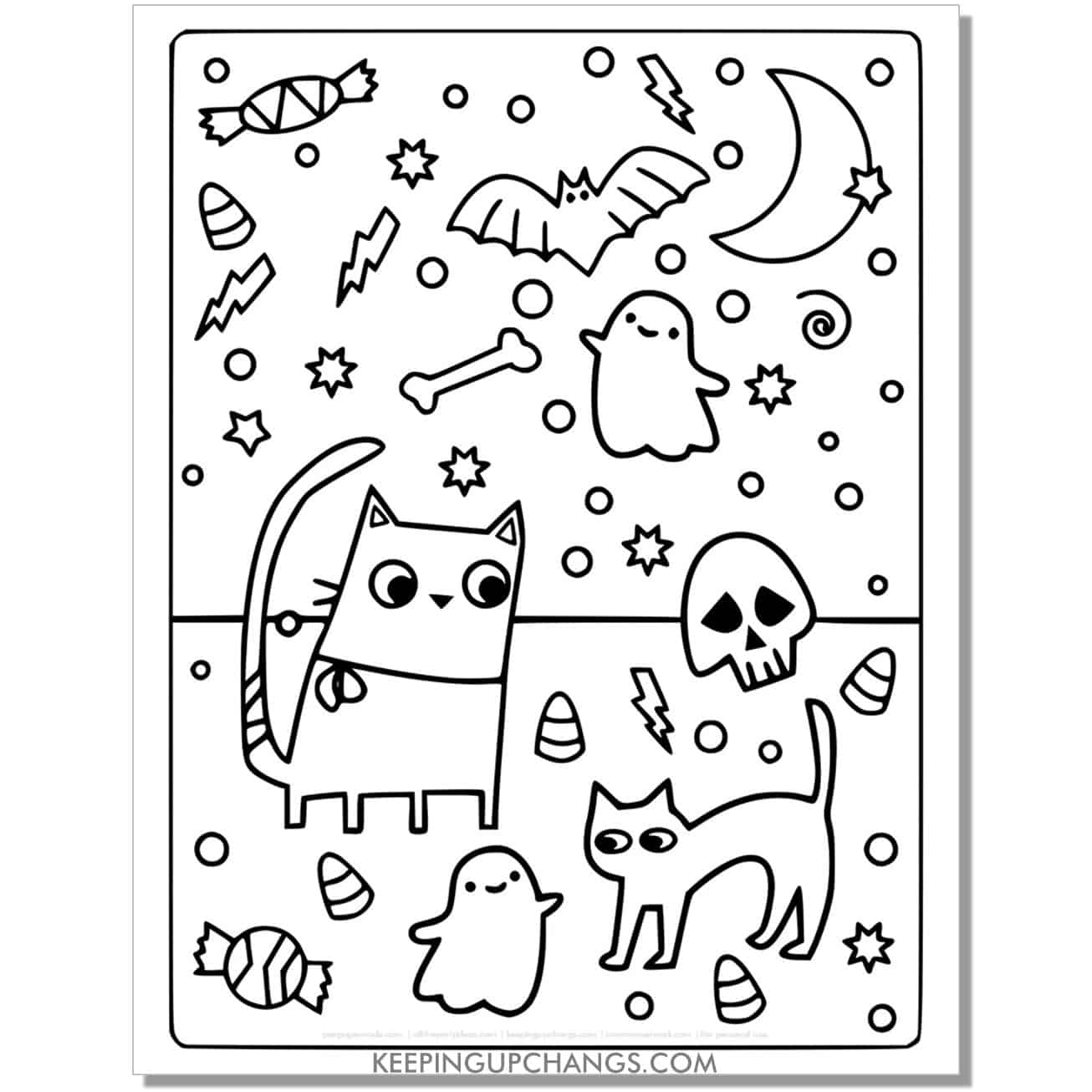full size halloween cat moon, ghost, candy, coloring page.