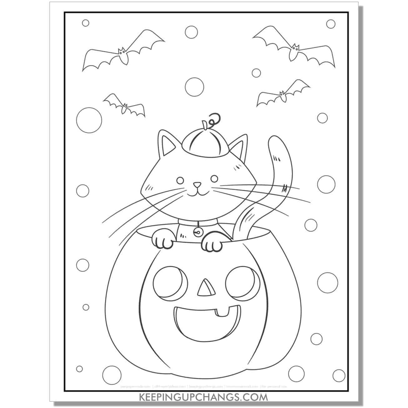 halloween cat sitting in jack o lantern coloring page for toddlers.