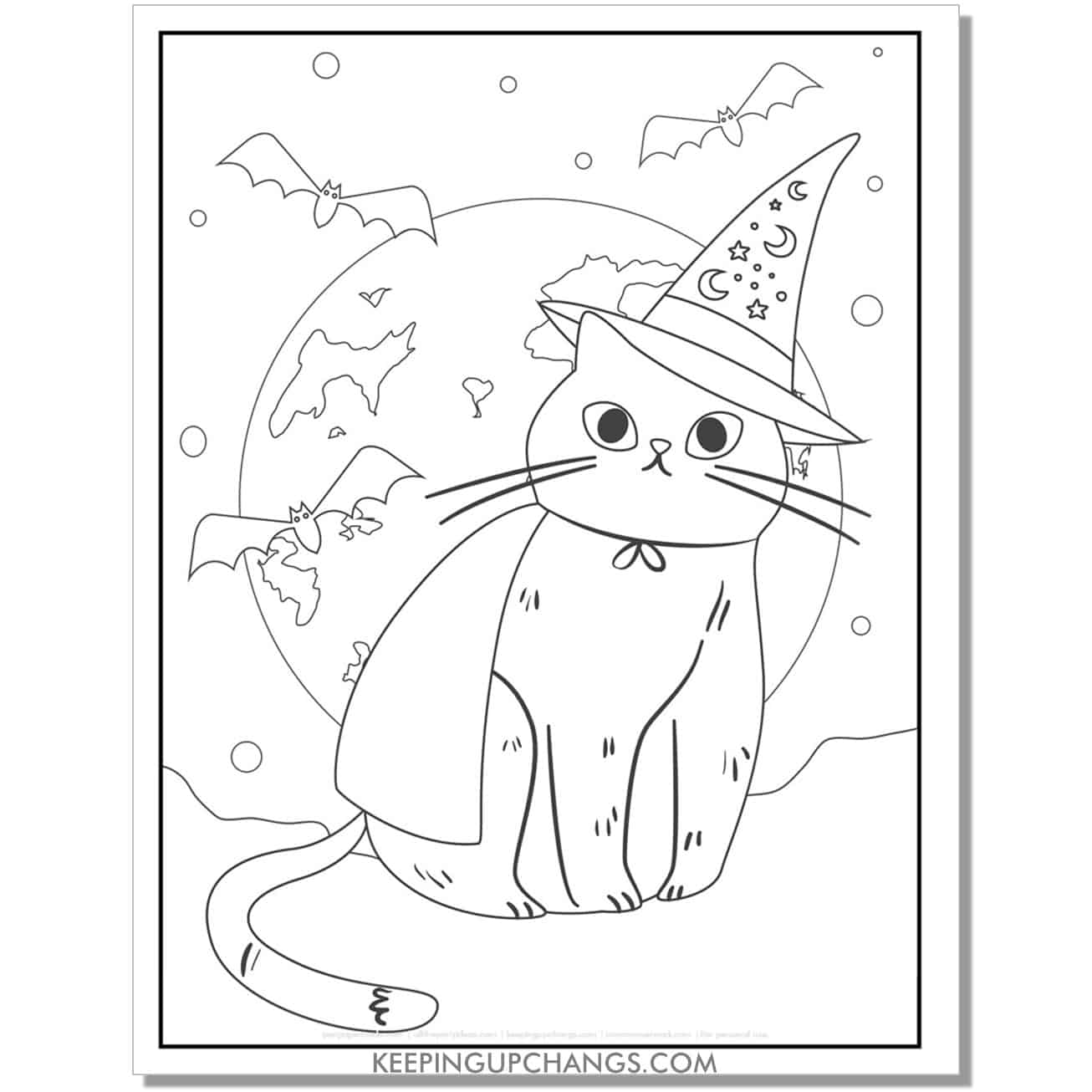 halloween cat with witch hat coloring page for toddlers.