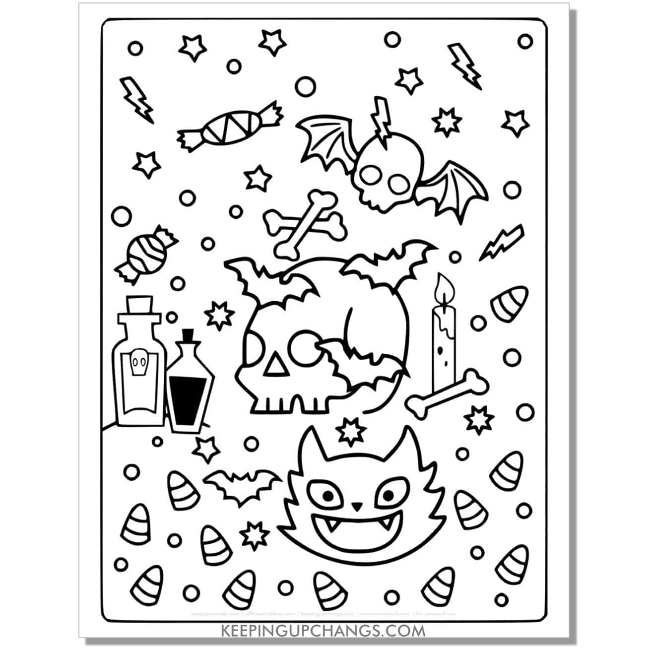full size halloween cat, skull, candy, poison coloring page.