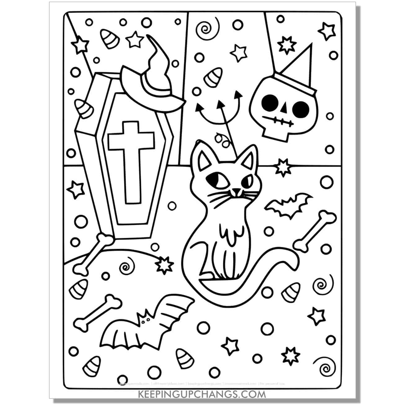 full size halloween cat, coffin, bat, candy corn coloring page.