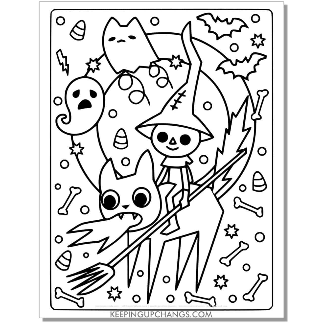 full size halloween cat dragon, ghost coloring page.