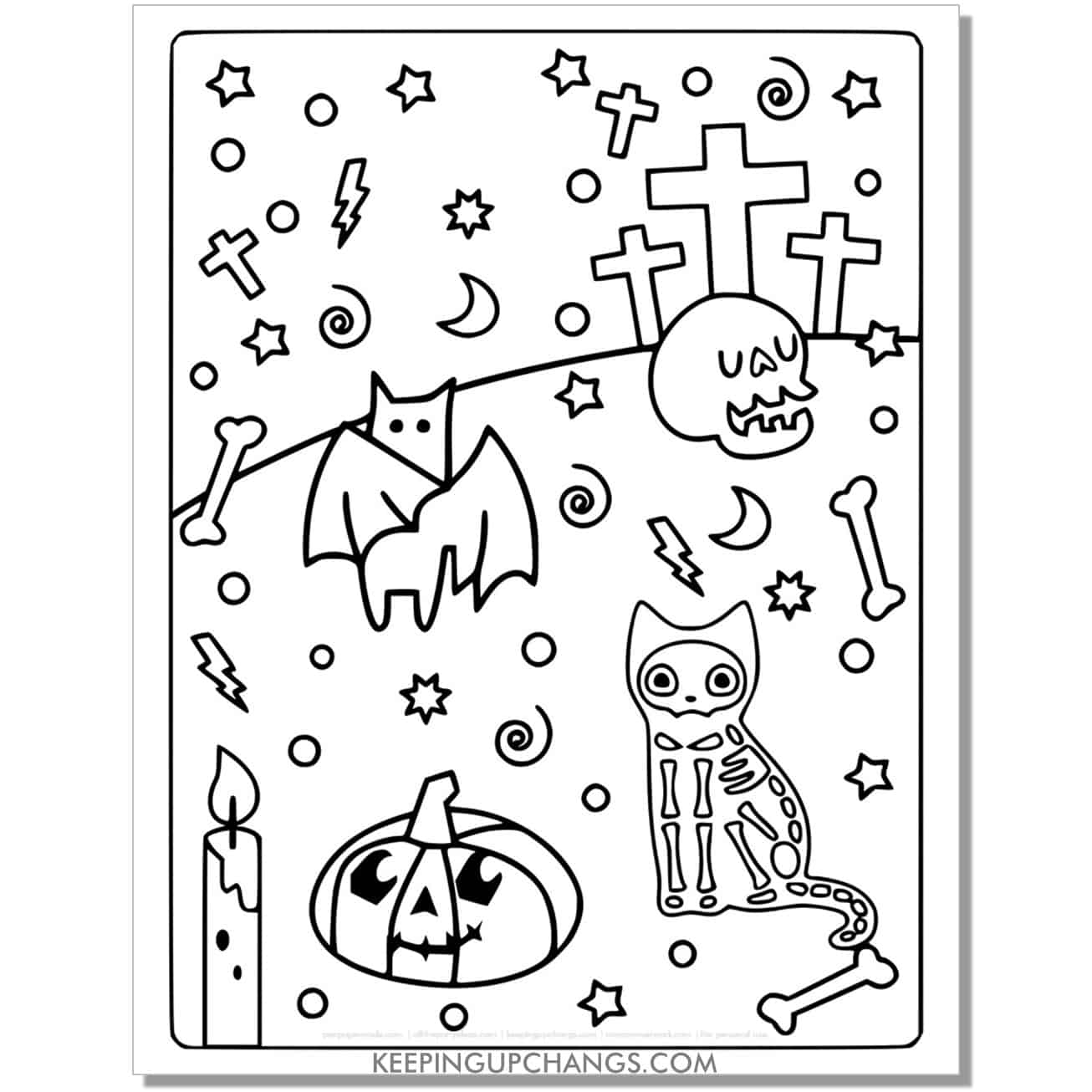 full size halloween cat skeleton, cross, jack o lantern coloring page.