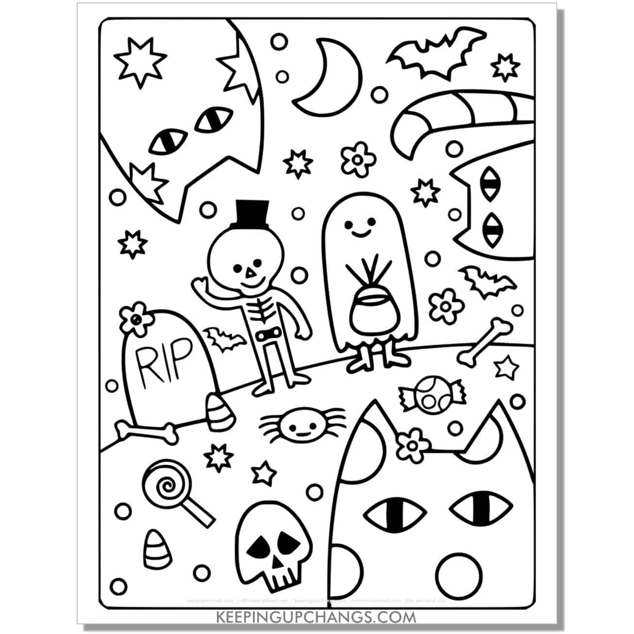 full size halloween cat trick or treat coloring page.