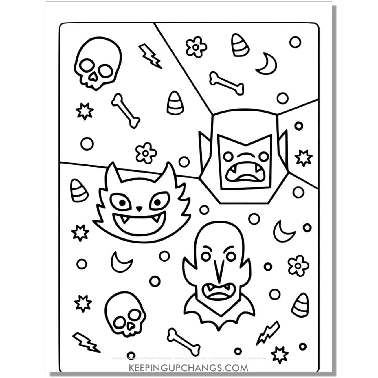 full size halloween cat, bat, vampire coloring page.