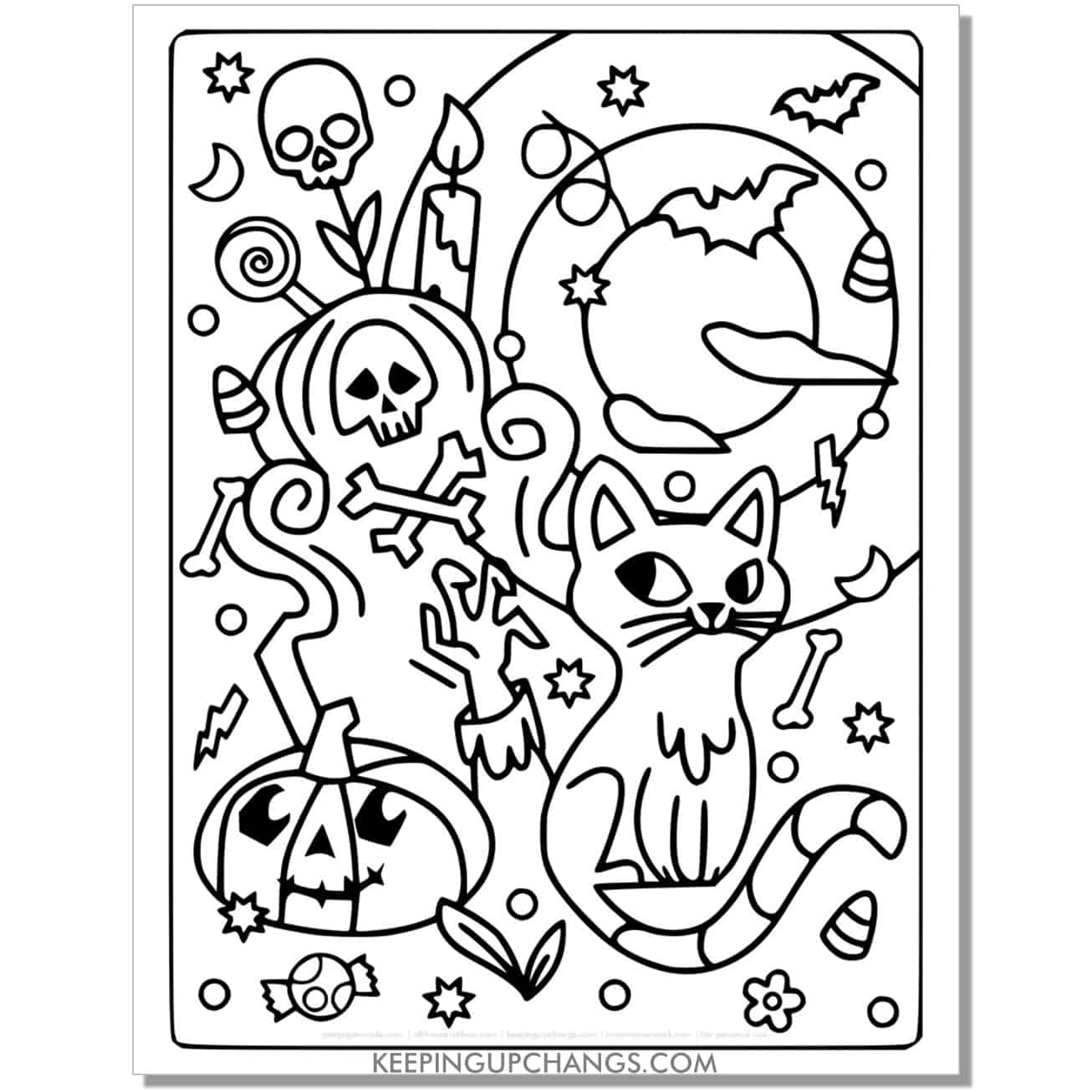 full size halloween cat zombie tombstone coloring page.