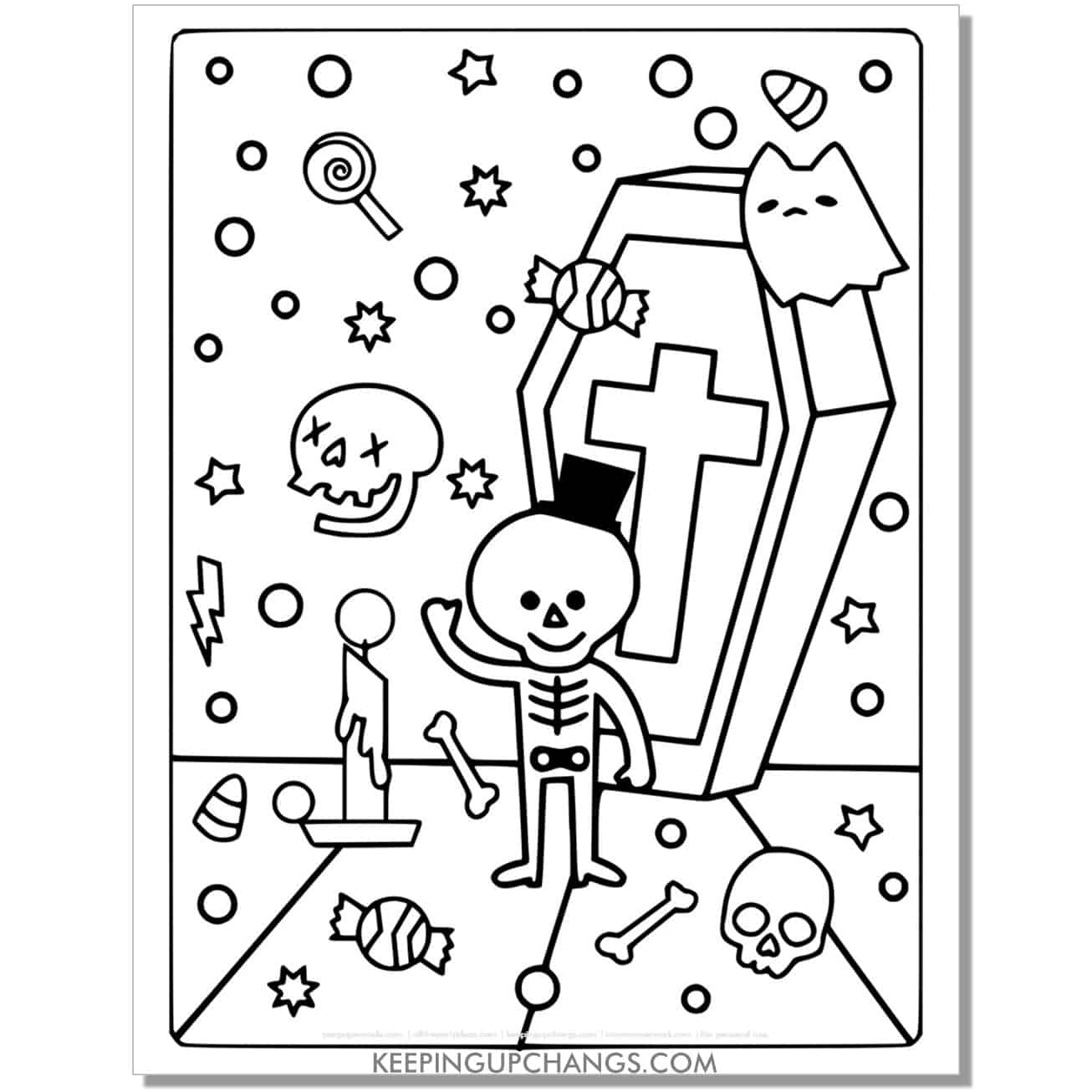 full size halloween ghost cat, coffin, skeleton, candle coloring page.