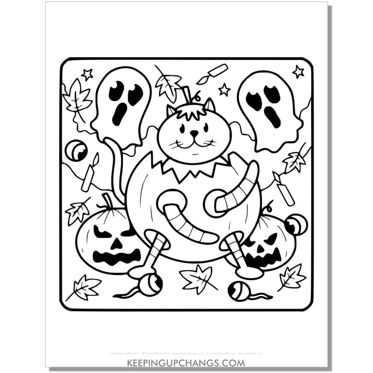 ghost, jack o lantern, halloween cat coloring page for kids.