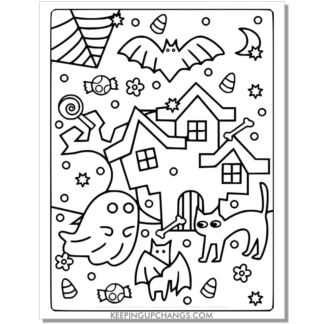 full size halloween cat, ghost, bat, haunted house coloring page.