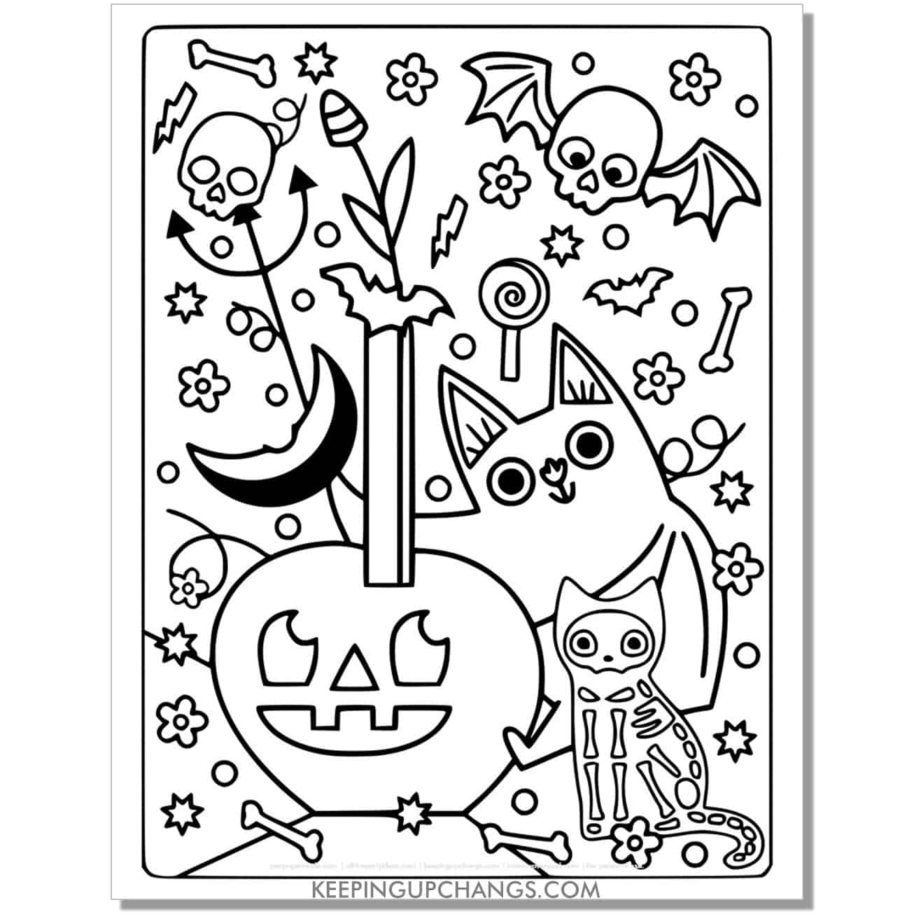 full size halloween cat skeleton and ghost costume coloring page.