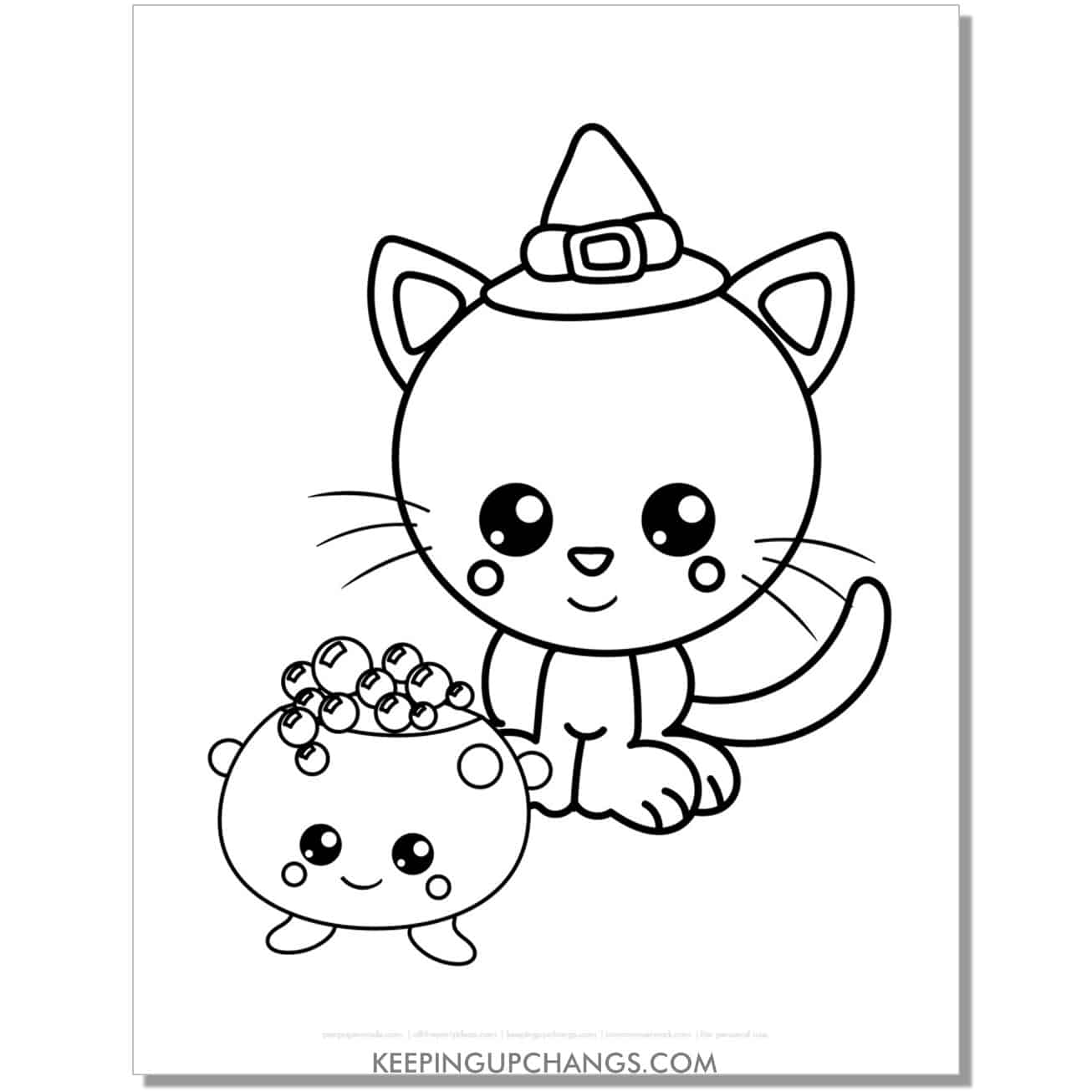 kawaii halloween cat with cauldron coloring page for kids.