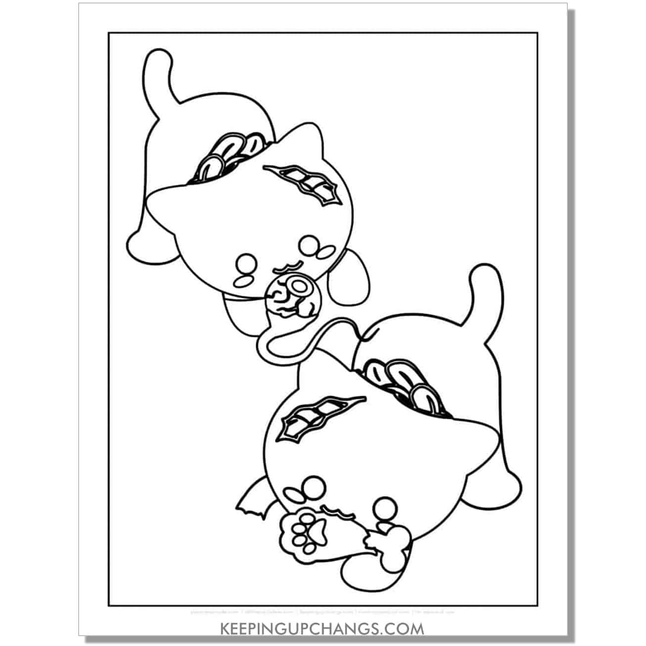 zombie halloween kittens coloring page.
