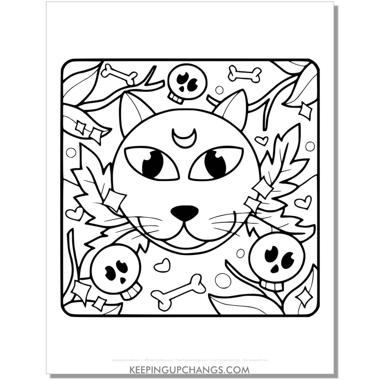 mystic halloween cat coloring page for kids.