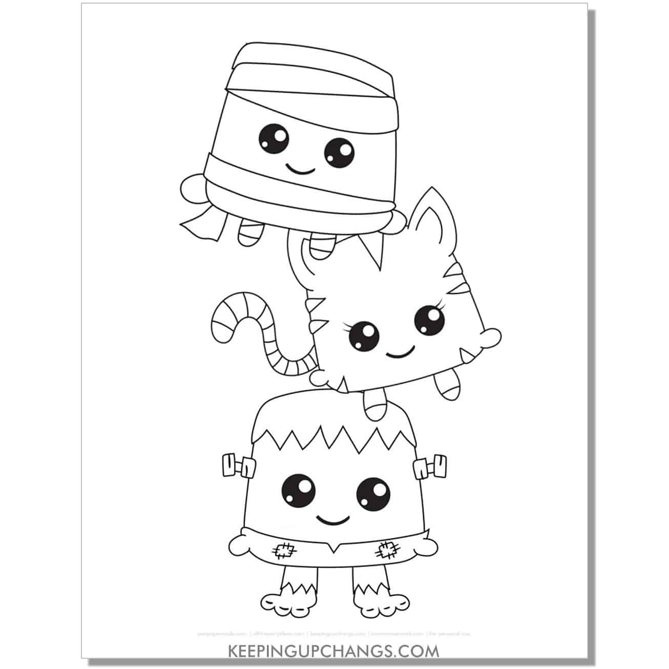 kawaii halloween cat, mummy, frankenstein coloring page.