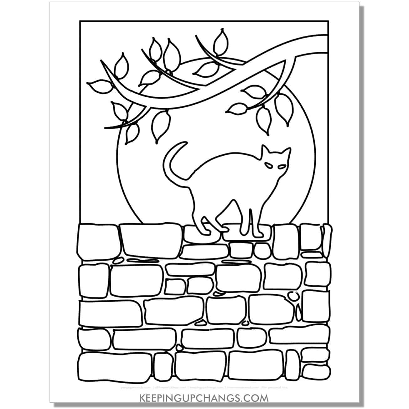 scary halloween cat on wall with full moon and bats coloring page.