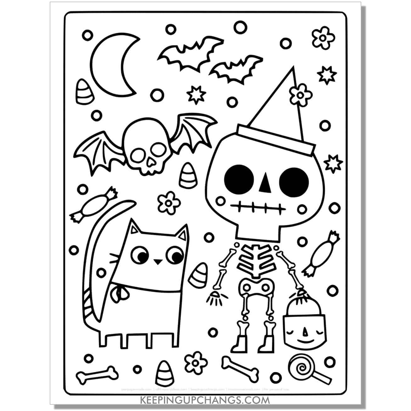 full size halloween cat with skeleton and skull bat coloring page.