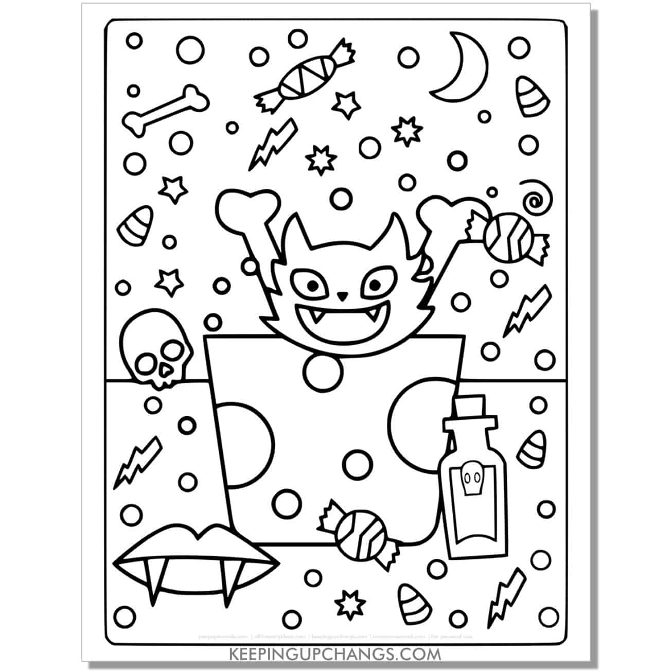 full size halloween cat with vampire fangs coloring page.