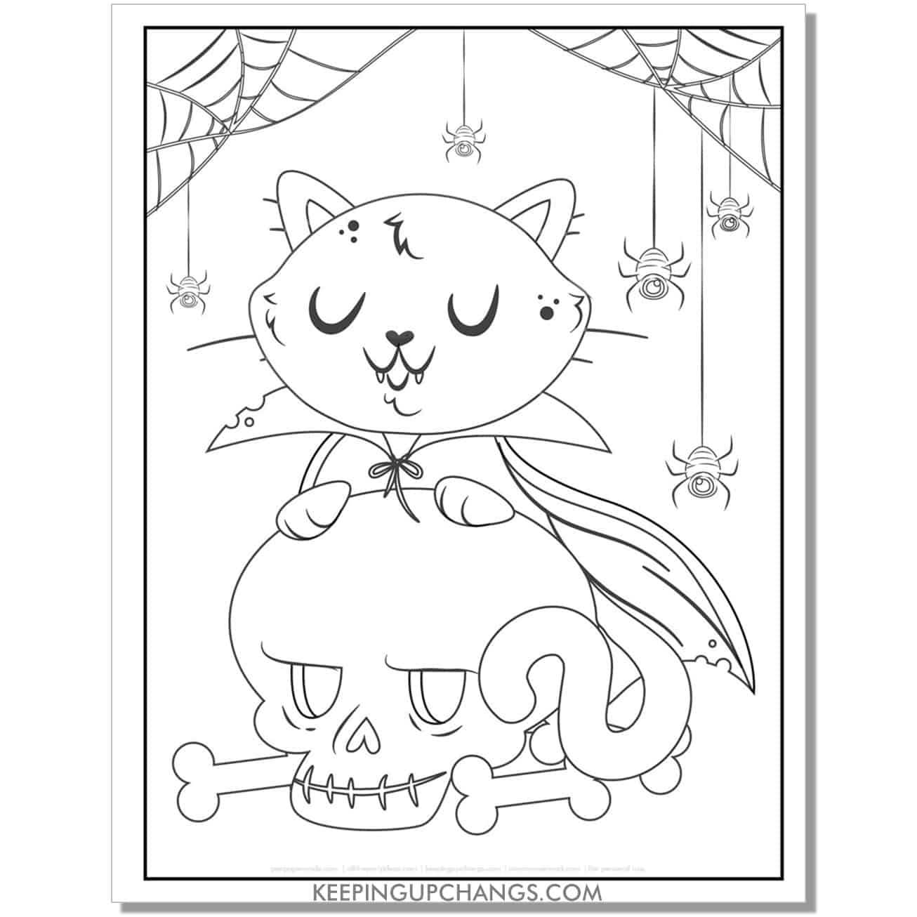 halloween cat vampire coloring page with skull, spider, cobwebs.