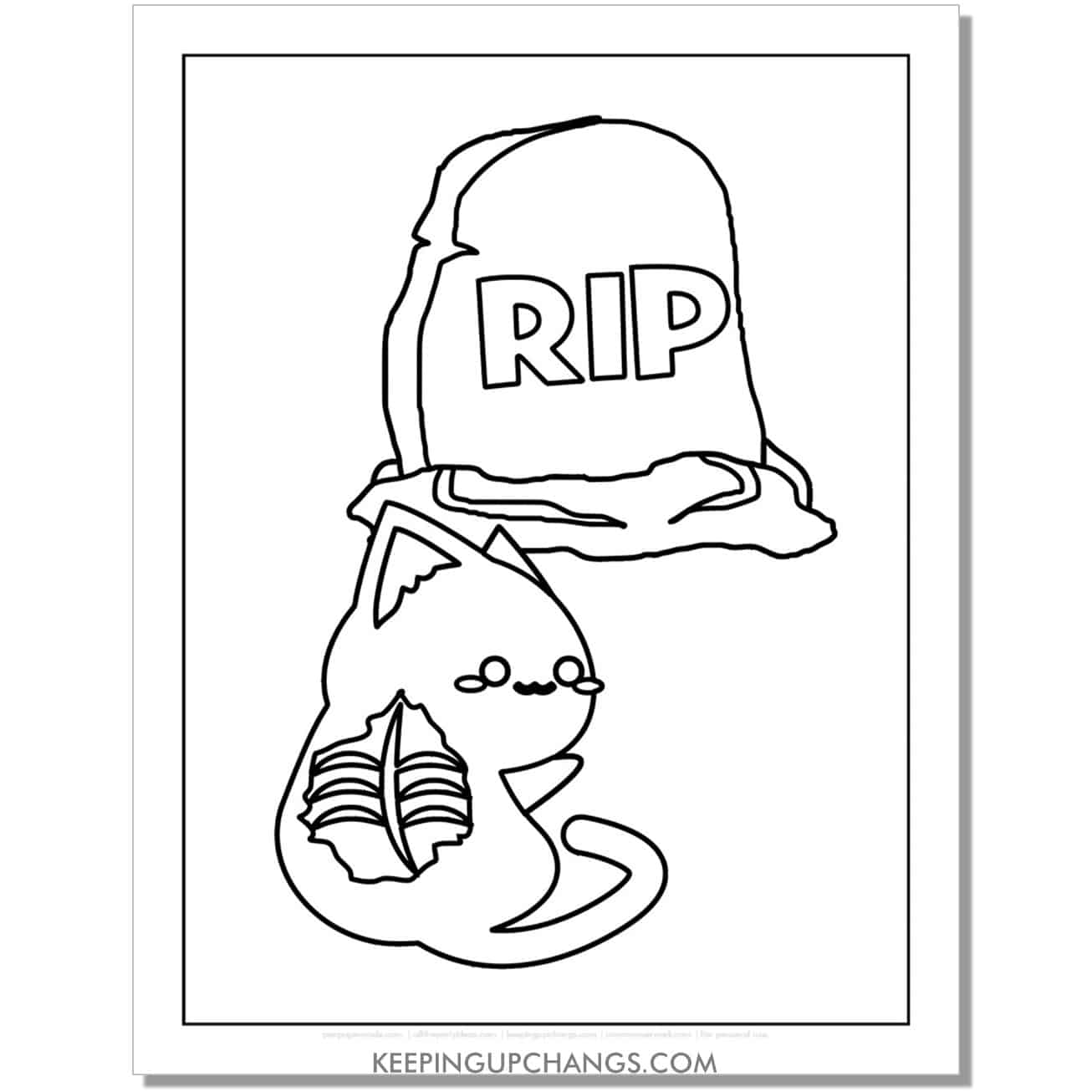 zombie halloween cat with tombstone coloring page.