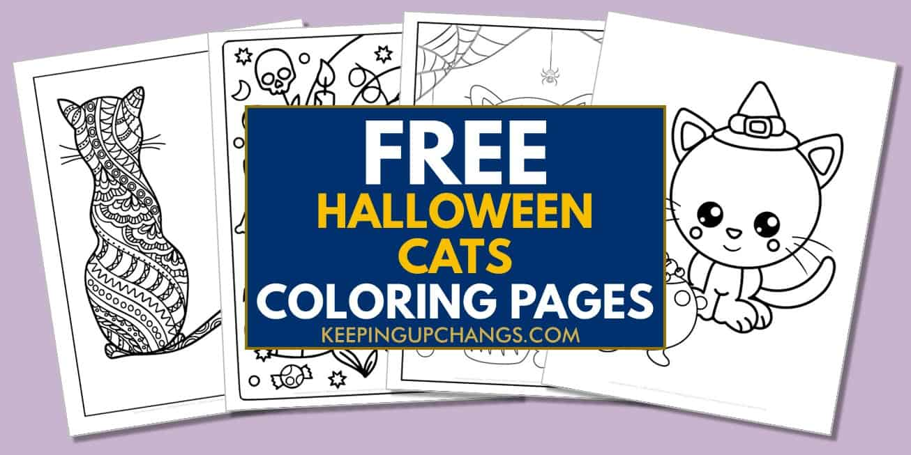 spread of free halloween cat coloring pages.