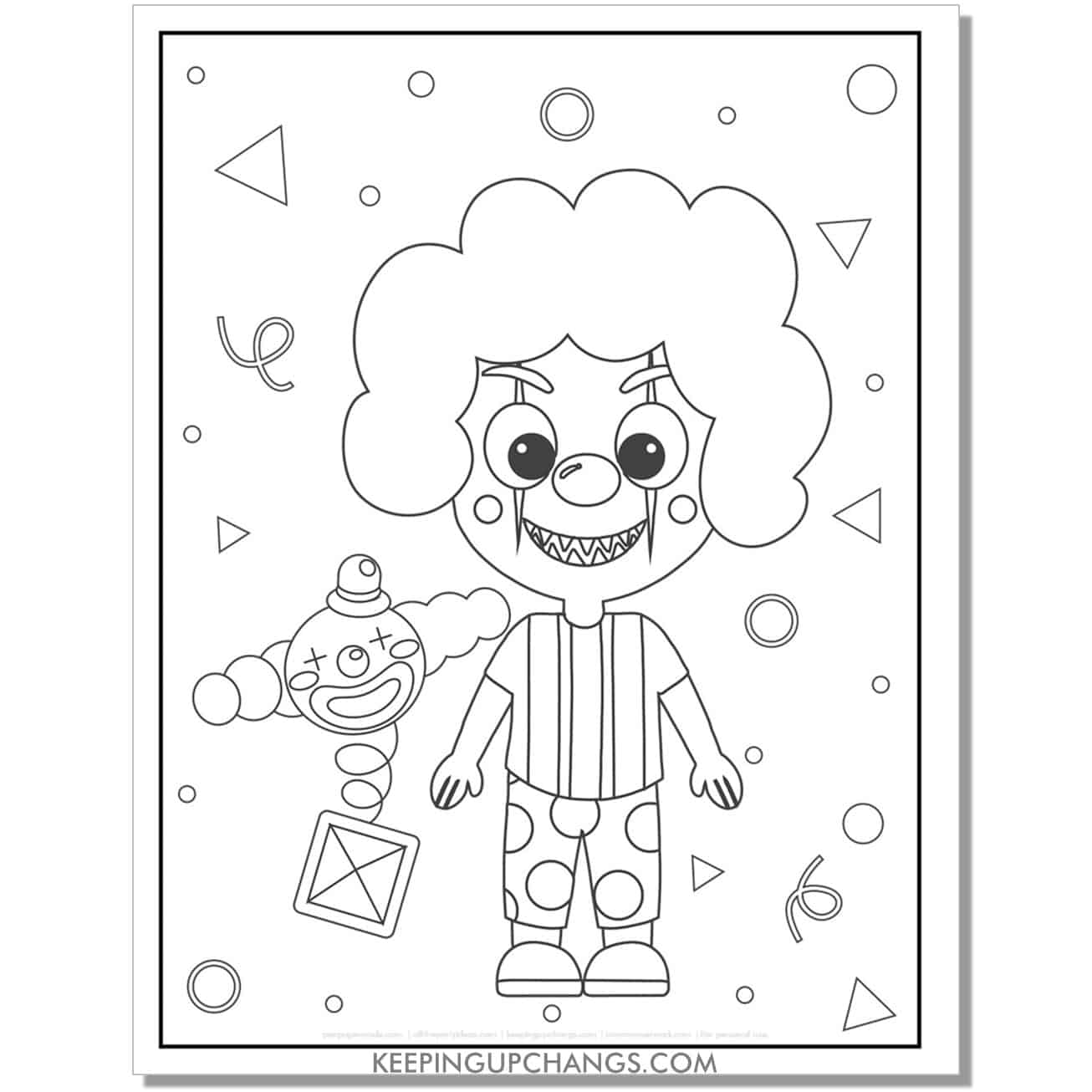free halloween clown full size coloring page for kids.