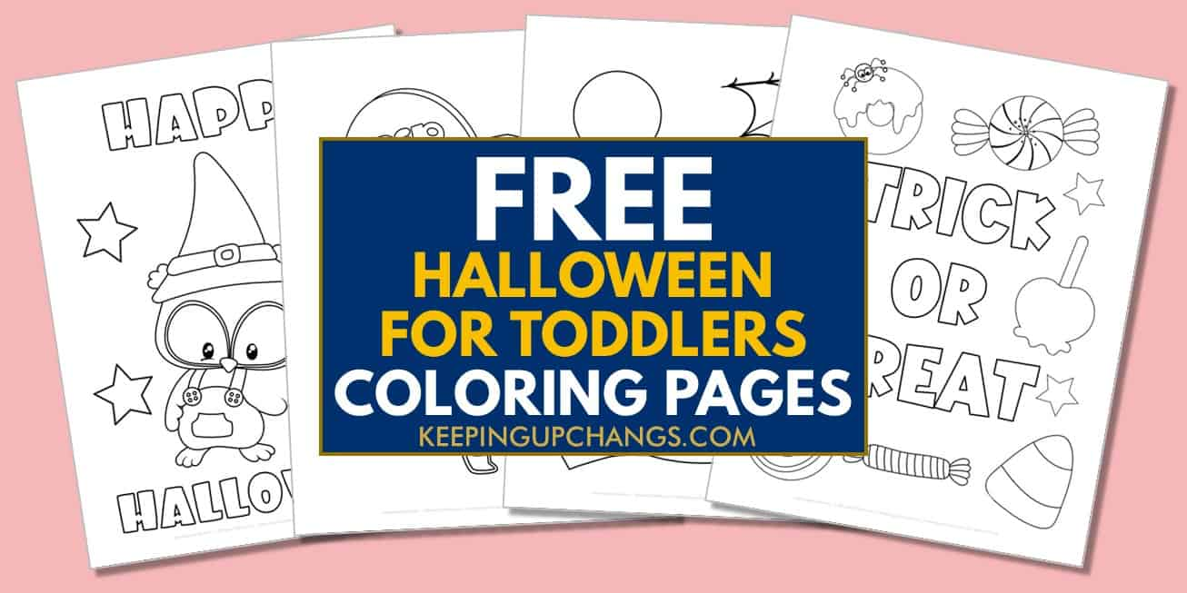 spread of free halloween coloring pages for toddlers.