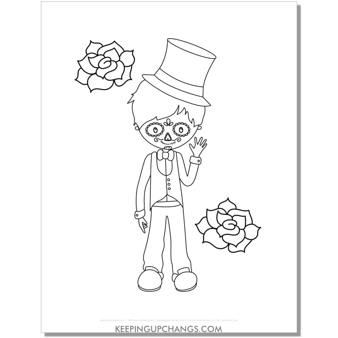 free day of the dead cute boy skeleton face coloring page.