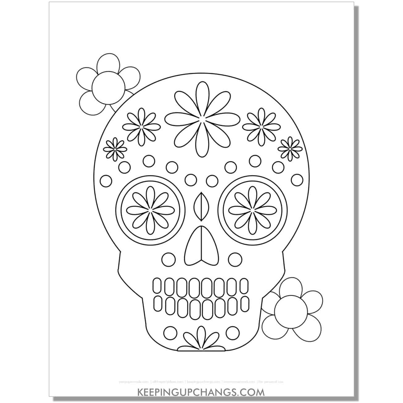 free day of the dead sugar skull for kids coloring page.