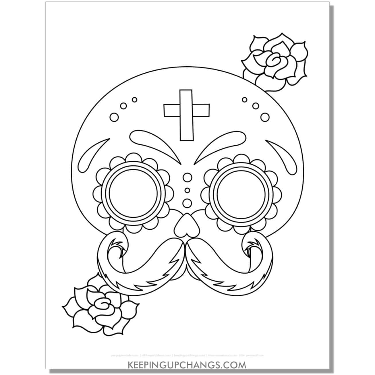 free day of the dead mexican man skull face mustache coloring page.
