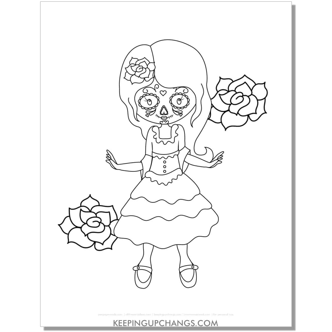 free day of the dead cute girl skeleton face coloring page.