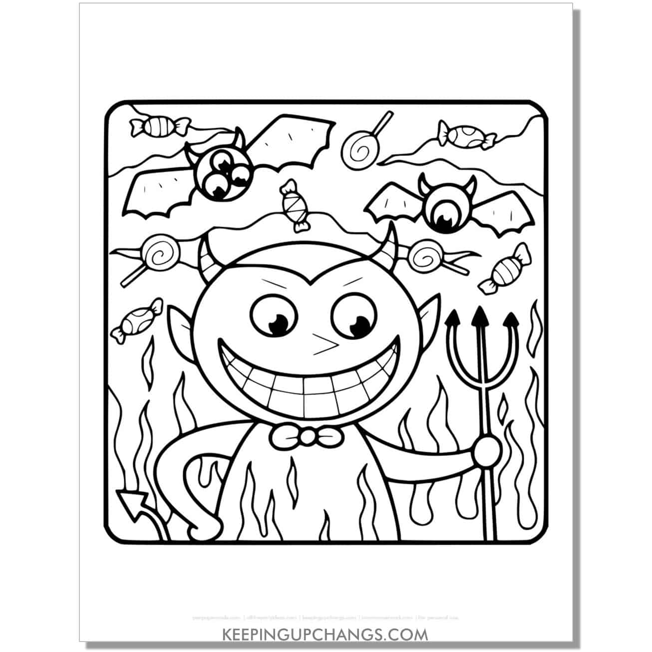 free halloween devil boy with flying bats coloring page.