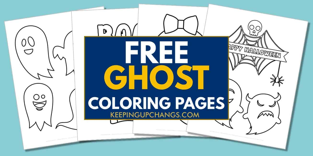 spread of free halloween ghost coloring pages.